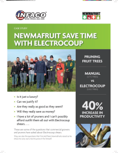 Case study shows Electrocoup pruning shear increases orchard productivity by 40%